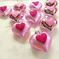 Set of 10  Shabby Chic PINK Glitter HEART ORNAMENTS VALENTINE Decor Feather Tree