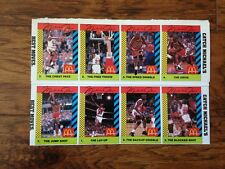 MICHAEL JORDAN RARE MCDONALD'S BASKETBALL CARD SET 1990 UNCUT SHEET