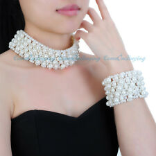 Fashion Jewelry White Pearl Gothic Punk Choker Statement Necklace Bracelet Set