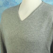 Bloomingdales Mens XXL 100% Cashmere Heathered Gray V Neck Sweater Jumper NICE