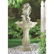 Large Water Fountain Outdoor Sculpture Fiberglass 4 Tier Cascade Bird Bath 42""
