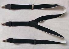 Braces Suspenders Mens Vintage CLIP ON 1980s STOCKBROKER BLACK WHITE