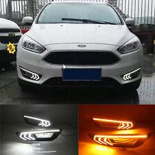 2x White LED DRL Driving Daytime Running Day Fog Lights For Ford Focus 2015-2017