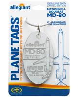 Allegiant Air McDonnell Douglas MD-80 Tail #N892GA Aluminum Plane Skin Bag Tag