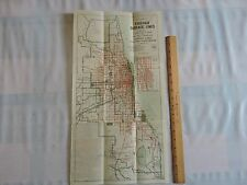 Rare 1921 Chicago Surface Transit & Trolley Map Brochure SUBWAY 11X21