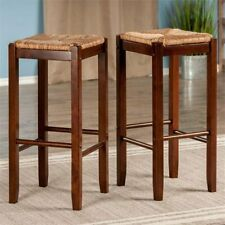 Set Of 2 Bar Stools 29-Inch Rush Seat Wood Dining Room Kitchen Island Furniture
