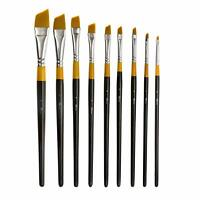 9pcs Angular Paint Brushes Set for Oil Acrylics Watercolor and Gouache