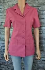 Women's Elegant Tailored Pink Short Sleeved Blazer City Suit Jacket Size 16