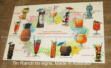 TIKI COCKTAIL TIN SIGN vintage 50s mug MENU new! HAWAIIAN POLYNESIAN bar drink