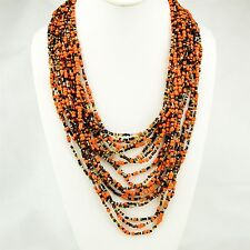 Handmade African Multi Color Orange Strand Masai Bead Necklace 515-142