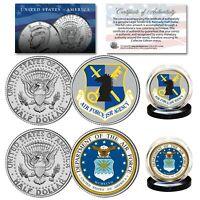AIR FORCE & USAF INTELLIGENCE Branch JFK Half Dollar Military 2-Coin U.S. Set