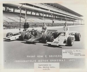 Vintage 1971 Indy 500 Front Row 8x10 Photo PETER REVSON MARK DONAHUE BOBBY UNSER