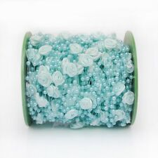 1m hellblaue Girlande mit Perlen und Seidenblumen TAUFE Hochzeit Deko