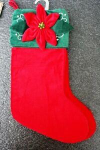 """Set of 2 HandMade Deluxe Christmas Holiday Stockings Red Green velvet 20"""" Flower"""