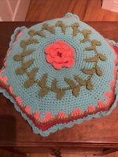 New listing Vintage Crocheted Shabby Chic 3D Rose Throw Pillow Octagon 17�Pink blue green