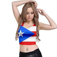 New Puerto Rico Flag Sublimated Woman Crop Top White T-Shirt Size XS-3XL