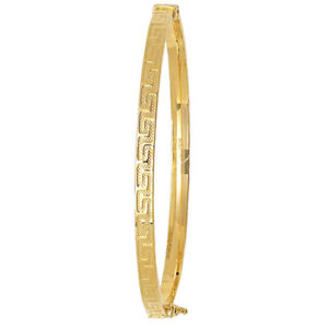 9ct Gold Bangle Greek Key Patterned  - 3.8 grams  Gift Boxed  - 4mm Wide
