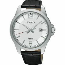 Seiko Men's Dress Watch, Black Calf Leather Strap, New In Box