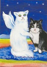 ACEO PRINT OF PAINTING RYTA TUXEDO CAT WHITE ANGEL RAINBOW BRIDGE HEAVEN STARS