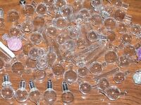 15 fun mix Lot Glass Mini bottles vials charm findings