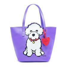 More details for bichon frise dog designer handbag tote bag by marc tetro purple attractive bag