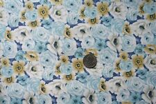 New Blue Rose Cotton Craft Quilting Fabric By the 1/2 Yd :)