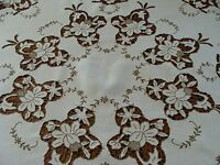 """FANCY MADEIRA Cutwork Linen Tablecloth 43"""" Topper Hand Embroidered LAUNDERED"""