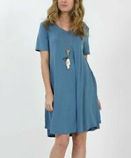 T-Shirt Dress Blue Size 8 V-Neck With Short Sleeves And Pockets Ladies Womens