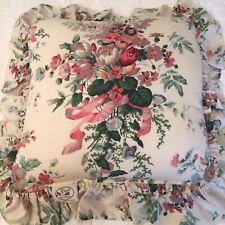 Vintage CROSCILL  English Flower Garden Ruffled Floral Throw Pillow EUC