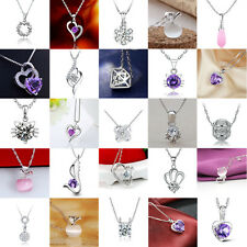 Damen Herz Blumen Kristall Strass Silber Anhänger ohne Halskette Schmuck Mode