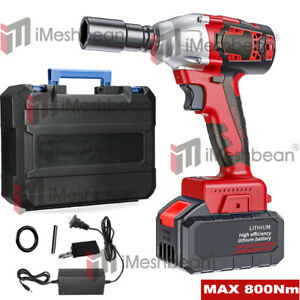 Cordless Electric Impact Wrench Gun 1/2'' Driver Drill w/ 3A Battery 800 Nm 20V