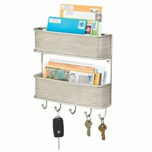 mDesign Wall Mount 2 Tier Metal Mail Organizer Storage Basket - Satin/Gray Wood