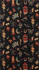 "Alexander Henry Fabric  ""TATTOO"" , Tatoo Fabric, Black by yard,  TheFabricEdge"