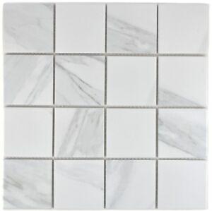 Mosaïque carreau céramique blanc Carrara cuisine piscine 16-0102_f | 10 plaques
