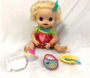 2010 My Baby Alive Blonde Doll Bib Spoon Bottle Diaper Bowl Interactive WORKS