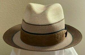 BILTMORE CHAGALL * MEN BROWN HEMP BRAID FEDORA * 7 * NEW PANAMA STYLE STRAW HAT