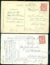 FRENCH OFFICE IN LEVANT : 2 1910 Color Picture Post Cards from Jerusalem to USA.