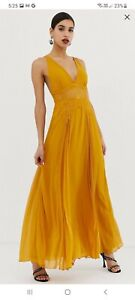 ASOS dress size 12, gold/mustard, full length, maxi, event, wedding, night out