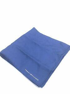 $125 Tommy Hilfiger Men`S Silk Solid Blue Handkerchief Casual Suit Pocket Square