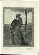 1888-Fine Art Davidson Knowles cruel viento del este joven Dama Sombrero Guantes (106)