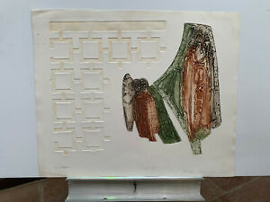 S/N signed Richard Royce ESCAPE etching cast paper print Never framed! 25X30