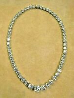45 Ct Round Cut White Diamond Tennis Necklace Solid 14k Real White Gold Over