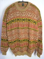 Wollpullover 100%Alpaka Beige gemustert Wolle Strickpullover Peru Damen Herren L