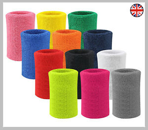 Mens Ladies Gym Sports Tennis Cricket Large Wrist Sweatband 15cm Wristbands