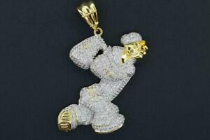 14K Yellow Gold Plated Hip Hop Micro Pave CZ Cartoon Sailor Pendant with Chain
