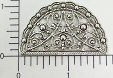 13794          2  Pc  Matte Silver Oxidized Victorian Fan Shape Filigree Finding