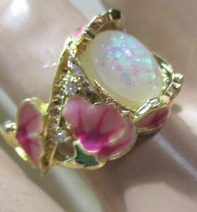 Beautiful Fire Opal And  Pink Floral Enamel Ring