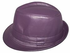 Fedora Trilby Hats For Adults Uni-Sex - Faux Leather Hats 6  Colors (EFedHat11*)