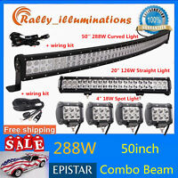"""Curved 50inch 288W LED Light Bar Driving+CREE 20"""" 126W Spot Flood+4X 4""""18W+Wires"""