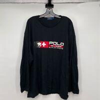 Suisse 16 Slalom Racing Mens Polo Ralph Lauren T-Shirt Black Long Sleeve Big 2XB